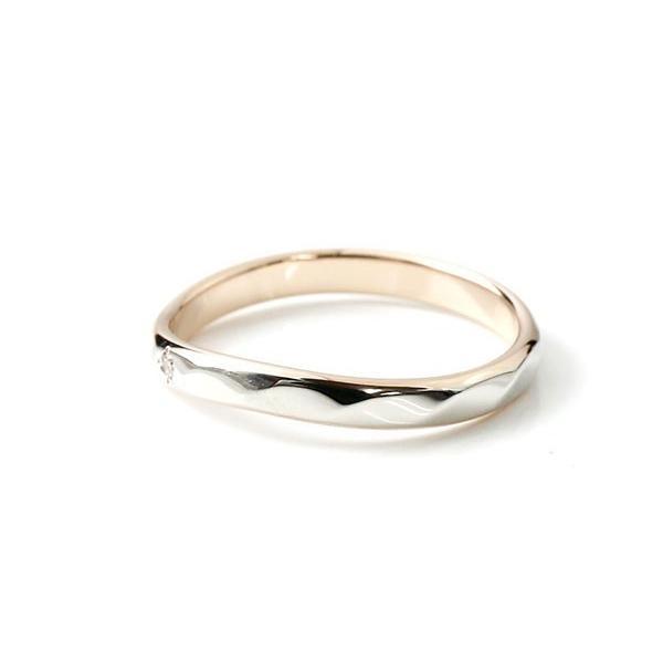 結婚指輪 安い ペアリング 結婚指輪 プラチナ ダイヤモンド 一粒 コンビリング ピンクゴールドk18 指輪 pt900 地金 マリッジリング リング 母の日