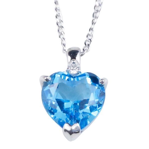 ネックレス  ハート ブルートパーズ シルバー ダイヤモンド ダイヤ ペンダント チェーン sv925 レディース 11月誕生石 あすつく 送料無料|atrus