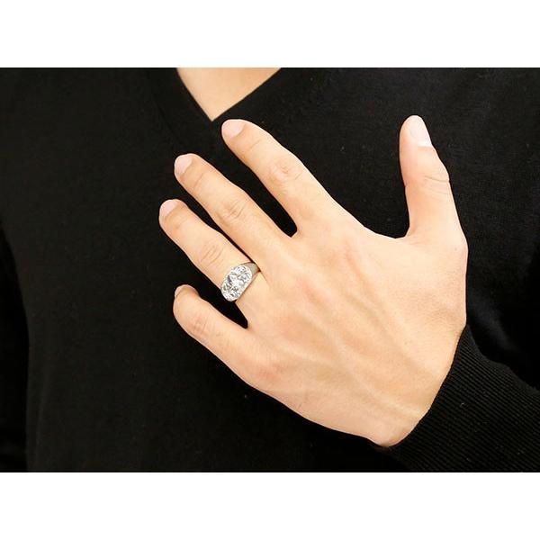 ハワイアンジュエリー メンズ リング ダイヤモンド シルバー925 印台 指輪 幅広 ハワイアン スクロール ダイヤ 一粒 sv925 男性用 トレジャーハンター atrus 04