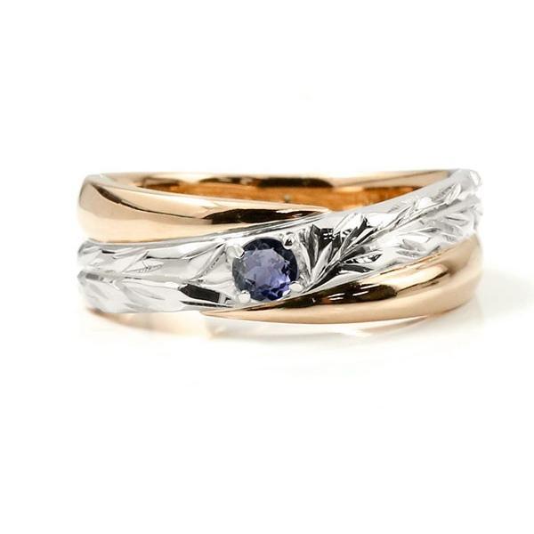 ハワイアンジュエリー 婚約指輪 プラチナ アイオライト エンゲージリング ピンキーリング リング 指輪 一粒 ピンクゴールドk18 18金コンビ 18k pt900 母の日