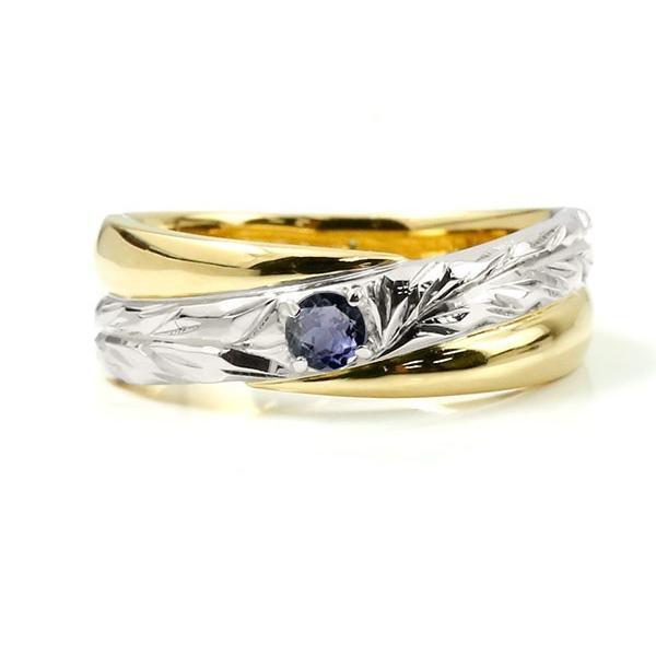 婚約指輪 安い ハワイアンジュエリー プラチナ アイオライト エンゲージリング ピンキーリング リング 指輪 一粒 イエローゴールドk10 10金コンビ 10k pt900