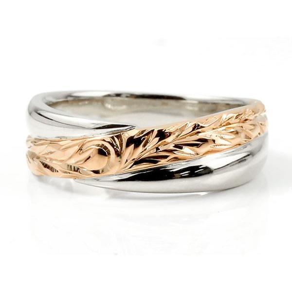 ハワイアンジュエリー ペアリング 結婚指輪 プラチナ ダイヤモンド 一粒 マリッジリング ピンクゴールドk18 ダイヤ 18金 結婚式 カップル コンビ 18k pt900