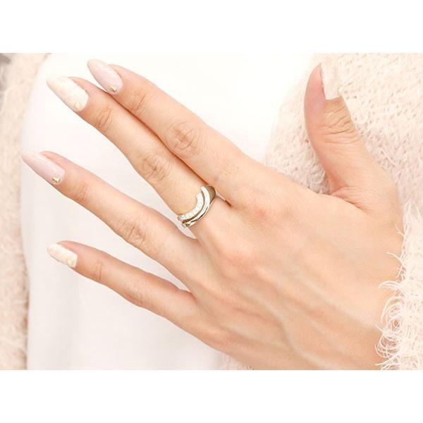 婚約指輪 ホワイトゴールドk18 エンゲージリング ピンキーリング キュービックジルコニア リング 指輪 ウェーブリング 18金 18k レディース 緩やかなV字 母の日