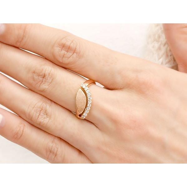 婚約指輪 ピンクゴールドk10 エンゲージリング ピンキーリング キュービックジルコニア リング 指輪 ウェーブリング 10金 10k レディース 緩やかなV字 つや消し