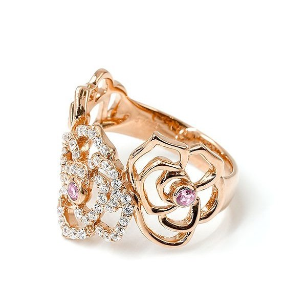 リング バラ ダイヤモンド ピンクサファイア ピンクゴールドk10 婚約指輪 ピンキーリング ダイヤ 指輪 幅広 エンゲージリング 10金 薔薇 ローズ レディース
