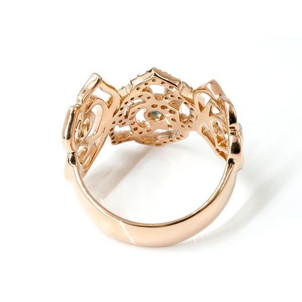 リング バラ サファイア ピンクゴールドk18 キュービックジルコニア 婚約指輪 ピンキーリング 指輪 幅広 エンゲージリング 18金 薔薇 ローズ 宝石 レディース