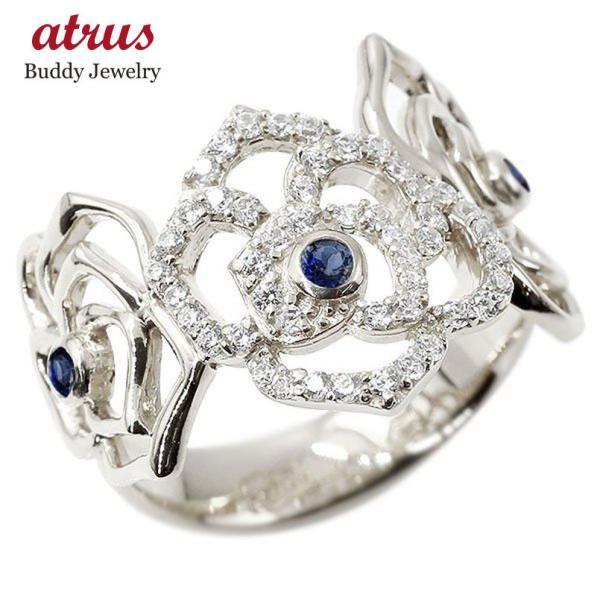 リング バラ サファイア ホワイトゴールドk18 キュービックジルコニア 婚約指輪 ピンキーリング 指輪 幅広 エンゲージリング 18金 薔薇 ローズ レディース