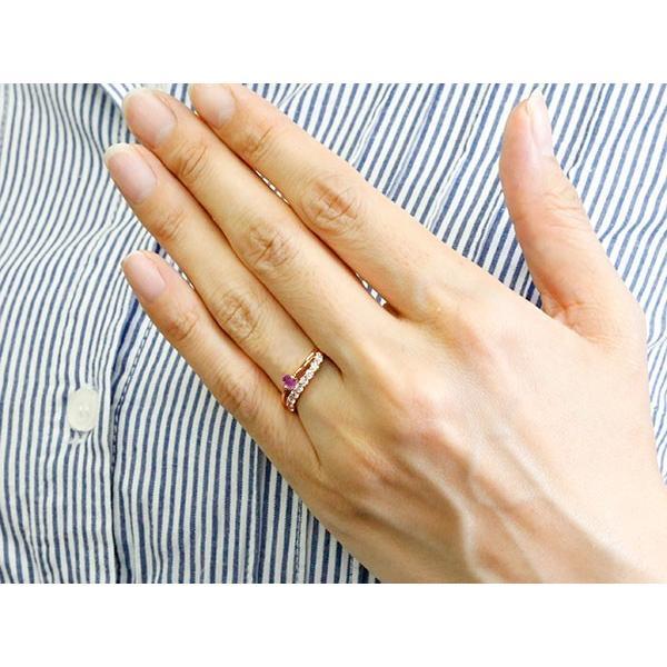 リング ルビー ピンクゴールドk10 キュービックジルコニア ウェーブ 指輪 10金 ハーフエタニティ 2連リング 7月誕生石 エンゲージリング レディース 秋 冬