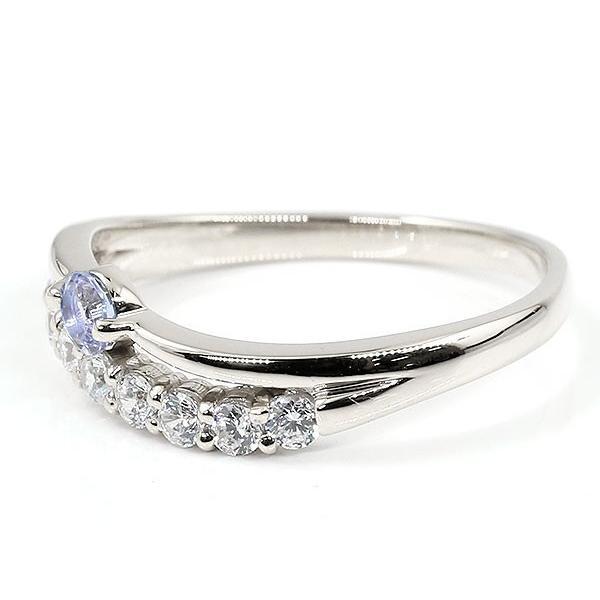 婚約指輪 安い プラチナリング タンザナイト キュービックジルコニア ウェーブ 指輪 pt900 ハーフエタニティ 2連リング 12月誕生石 エンゲージリング レディース