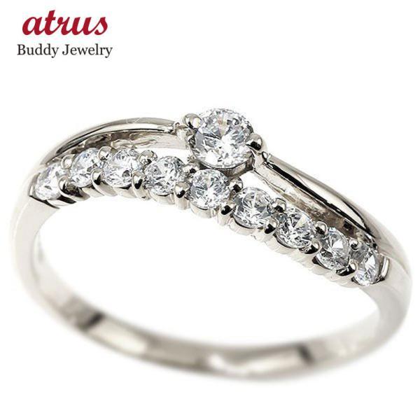 プラチナリング ダイヤモンド ウェーブ 指輪 pt900 ハーフエタニティ 2連リング ダイヤ 4月誕生石 ピンキーリング レディース 母の日