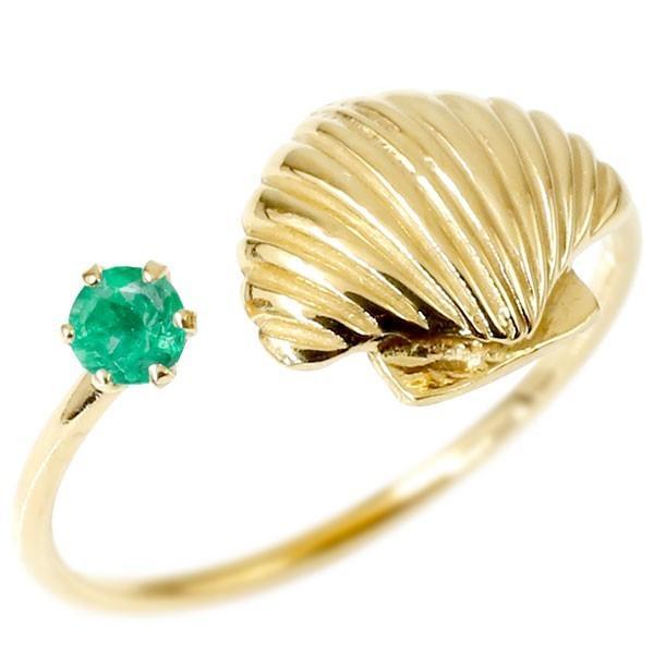 トゥリング エメラルド 貝 イエローゴールドk10 フリーサイズ 足の指輪 指輪 10金 レディース ピンキーリング 誕生石 マリンジュエリー 母の日