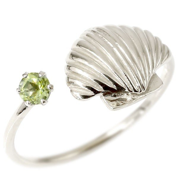 トゥリング ペリドット 貝 ホワイトゴールドk18 フリーサイズ 足の指輪 指輪 18金 レディース ピンキーリング 誕生石 マリンジュエリー 送料無料