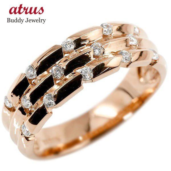 リング ピンクゴールドk18 18k キュービックジルコニア 婚約指輪 ピンキーリング 指輪 幅広 エンゲージリング 18金 送料無料