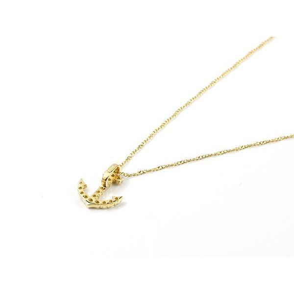 ネックレス ダイヤモンド イエローゴールドk10 イカリ アンカー ペンダント 10金 チェーン マリン系 ダイヤ レディース 人気 母の日