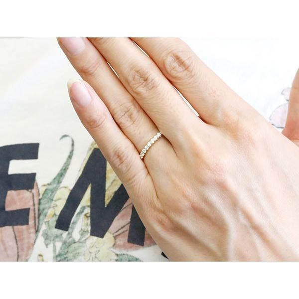 婚約指輪 ダイヤモンド ハーフエタニティ リング イエローゴールドk18 エンゲージリング ダイヤ 指輪 ピンキーリング 18金 宝石 レディース 母の日