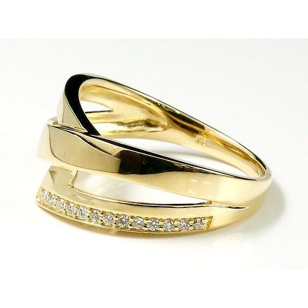 婚約指輪 リング ダイヤモンド イエローゴールドk18 ピンキーリング ダイヤ 指輪 幅広 エンゲージリング 18金 宝石 レディース 母の日