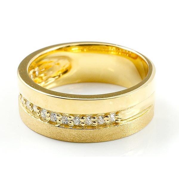 婚約指輪 リング イエローゴールドk10 キュービックジルコニア エンゲージリング 指輪 幅広 つや消し ピンキーリング 10金 宝石 レディース 母の日