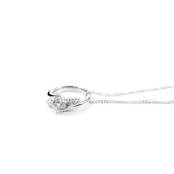ネックレス ダイヤモンド ベビーリング ホワイトゴールドk18 チェーン ネックレス レディース シンプル ダイヤ 人気 18金 プレゼント 4月誕生石 母の日