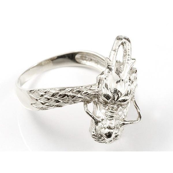 リング ダイヤモンド 龍 ホワイトゴールドk10 エンゲージリング 幅広 指輪 ピンキーリング 婚約指輪 10金 宝石 ドラゴン 竜 レディース 母の日