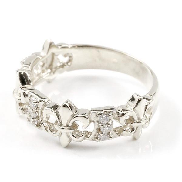 婚約指輪 リング ホワイトゴールドk18 ダイヤモンド ユリの紋章 エンゲージリング 指輪 ピンキーリング 18金 フルール・ド・リス 百合 透かし 宝石 レディース