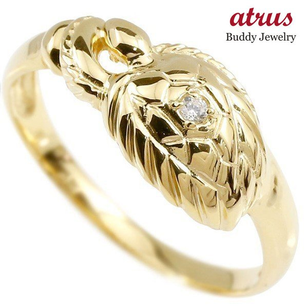 婚約指輪 リング イエローゴールドk18 ダイヤモンド カメ エンゲージリング 指輪 ピンキーリング 18金 亀 かめ レディース 母の日