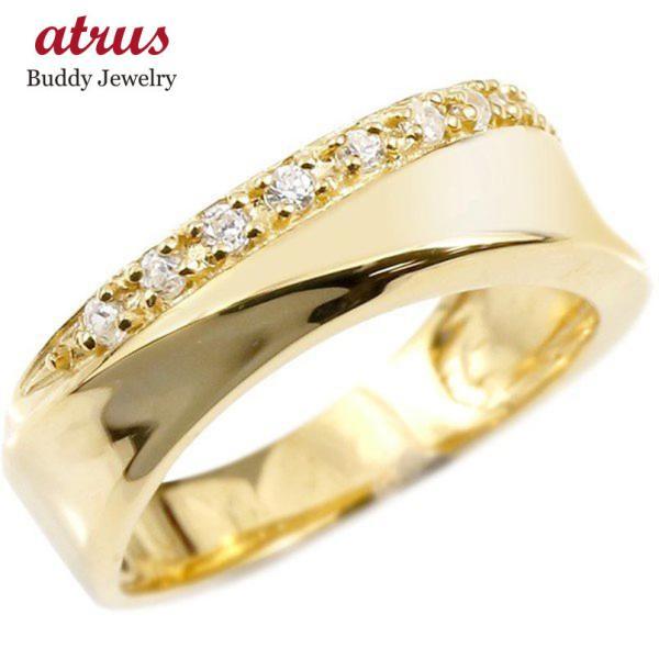 婚約指輪 リング イエローゴールドk10 キュービックジルコニア エンゲージリング 指輪 ピンキーリング 10金 レディース 母の日