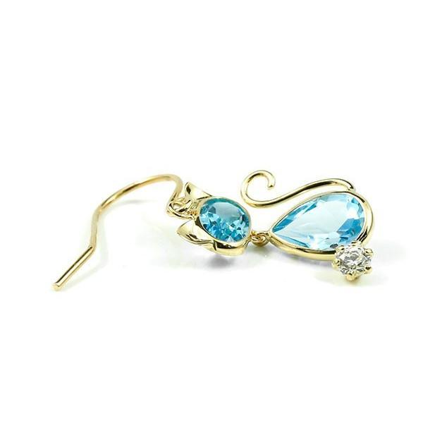 片耳ピアス ピアス ゆれる 猫 イエローゴールドk18  ブルートパーズ フックピアス シンプル 宝石 揺れるピアス レディース ねこ ネコ 人気 18金 宝石 あすつく