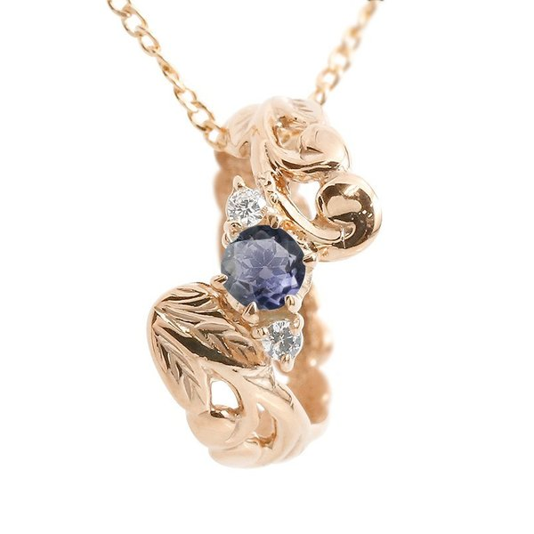 ハワイアンジュエリー ネックレス アイオライト ダイヤモンド ベビーリング ピンクゴールドk18 チェーン ネックレス レディース 18金 プレゼント 女性 送料無料
