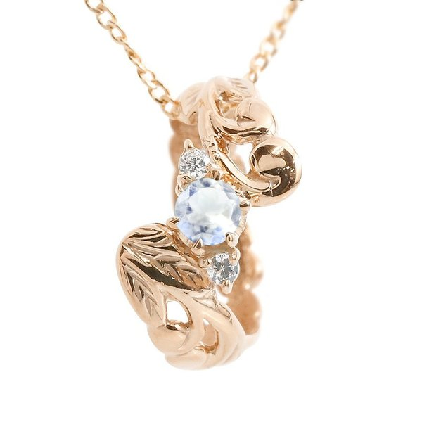 ハワイアンジュエリー ネックレス ブルームーンストーン ダイヤモンド ベビーリング ピンクゴールドk18 チェーン ネックレス レディース 18金 プレゼント 女性