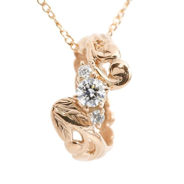 ハワイアンジュエリー ネックレス ダイヤモンド ベビーリング ピンクゴールドk18 チェーン ネックレス レディース 18金 プレゼント 女性 送料無料