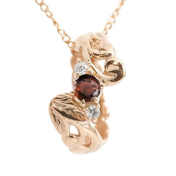 ハワイアンジュエリー ネックレス ガーネット ダイヤモンド ベビーリング ピンクゴールドk18 チェーン ネックレス レディース 18金 プレゼント 女性 送料無料
