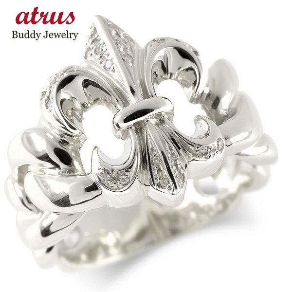 シルバー リング メンズ ダイヤモンド ユリの紋章 指輪 sv925 太め ピンキーリング 男性 幅広 送料無料
