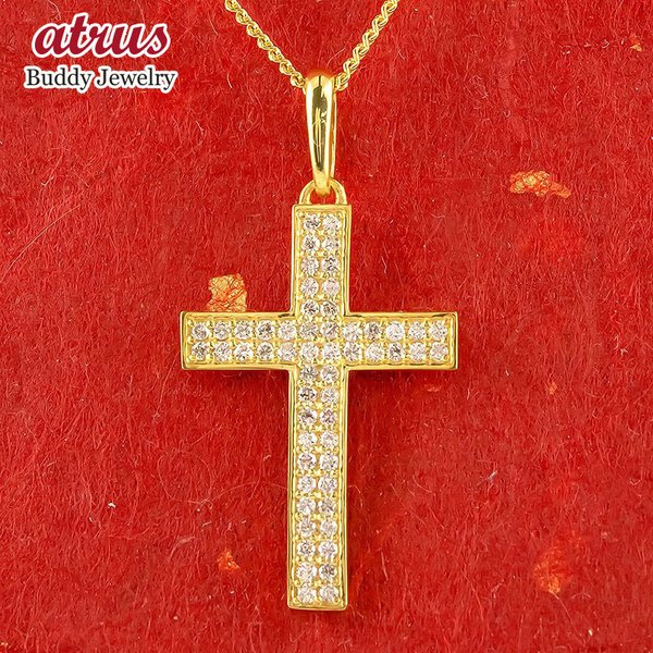 24金ネックレス 純金 クロス ダイヤモンド メンズ ゴールド 24K 十字架 ダイヤ ペンダント ゴールド k24 シンプル 喜平チェーン  キヘイ 男性 送料無料
