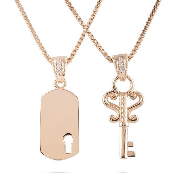 18金 ネックレス メンズ ペア 鍵 鍵穴 ダイヤモンド リンクコーデ セット ピンクゴールドk18 バーネックレス トップ ペンダント ミル打ち キーモチーフ 送料無料