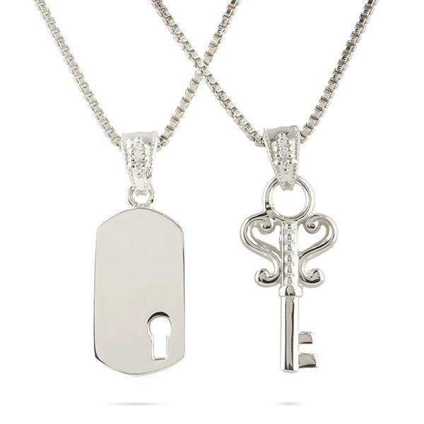 シルバー ネックレス メンズ ペア 鍵 鍵穴 ダイヤモンド リンクコーデ セット sv925 バーネックレス トップ ペンダント ミル打ち キー 送料無料