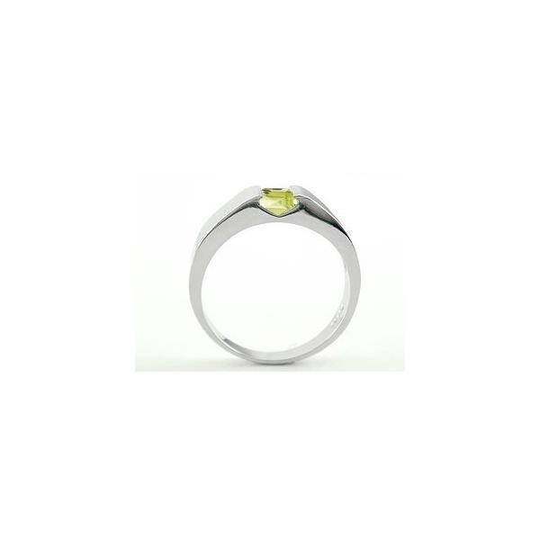 ペリドット リング 指輪 ピンキーリング シルバー 8月誕生石 ストレート スクエア sv925 母の日