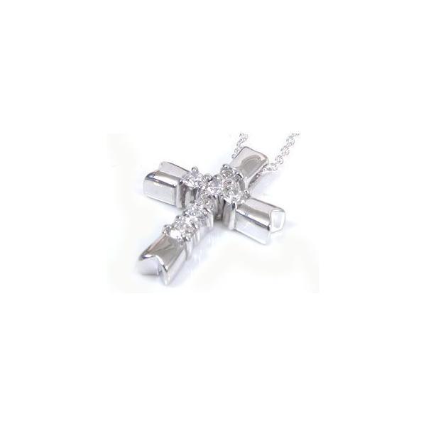 メンズネックレス 人気 ペンダント ダイヤモンド クロス ホワイトゴールドK18 18金ダイヤ 男性用 18k  シンプル 送料無料|atrus|02