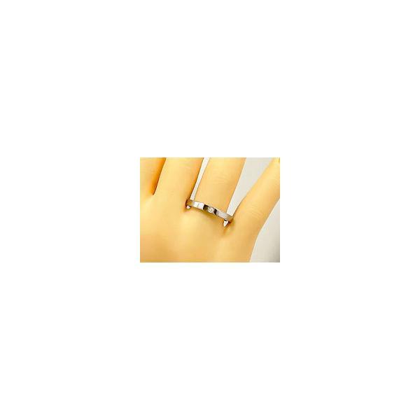 マリッジリング 結婚指輪 ペアリング 一粒ホワイトゴールドk18 結婚式 18金 ストレート カップル メンズ レディース
