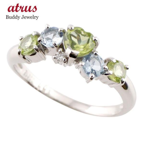 ピンキーリング ハート ペリドット リング プラチナ ダイヤモンド アクアマリン 指輪 8月誕生石 ダイヤ 送料無料