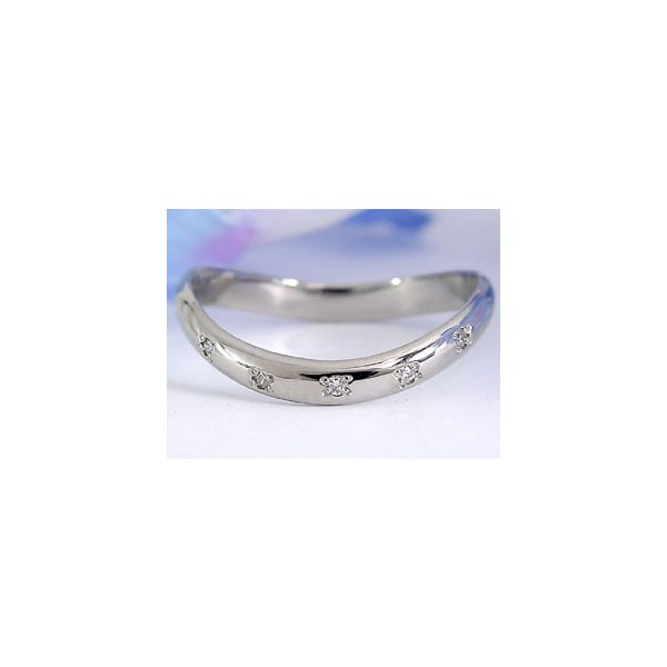 ストレート マリッジリング 甲丸 結婚指輪 ペアリング プラチナ ダイヤ ダイヤモンドS字 ゆるやかなV字 リング2本セット ウェーブリング 2.3 母の日