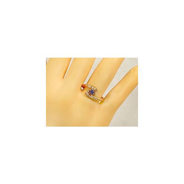ピンキーリング 指輪 アイオライト ダイヤモンド ピンクゴールドk18 18金 ダイヤ ストレート 宝石 母の日