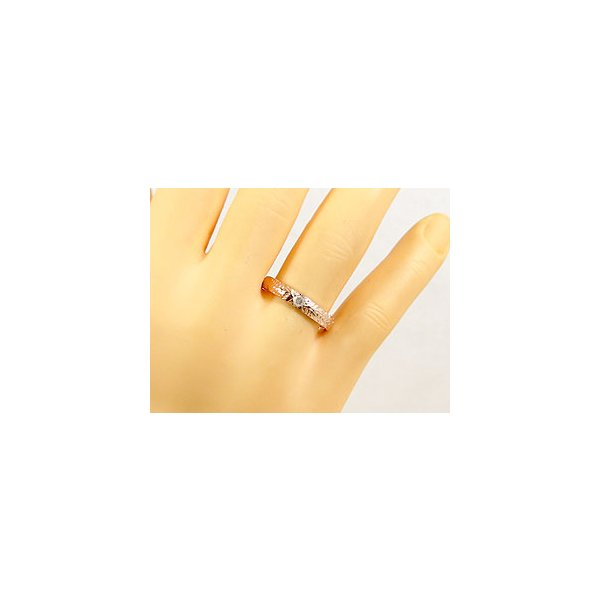 結婚指輪 ハワイアンペアリング ピンクサファイアダイヤモンド ホワイトゴールドk18ピンクゴールドk18 k182本セット ダイヤ シンプル 人気  女性 母の日