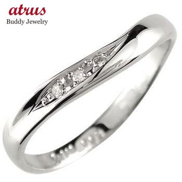 リング ゴールド ピンキーリング ダイヤモンドV字ホワイトゴールドk10リング ダイヤモンド 指輪 10金 ウェーブリング ダイヤ 宝石 送料無料