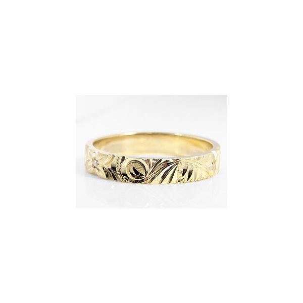 ハワイアンジュエリー エンゲージリング ダイヤモンド 指輪 イエローゴールドK18 手彫りハワイアンリング 婚約指輪 一粒 18金 k18yg ダイヤ ストレート 母の日