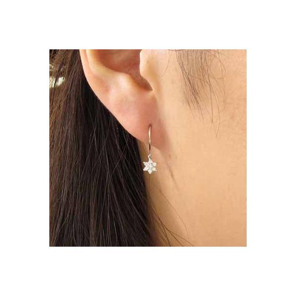 ピアス プラチナ フラワー ピアス ダイヤモンド プラチナ Pt900 フックピアス ダイヤモンドピアス ダイヤ 宝石 ゆれるピアス 母の日