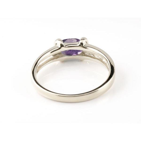 ピンキーリング 指輪 アメジストリングホワイトゴールドk182月の誕生石 18金 ストレート 母の日