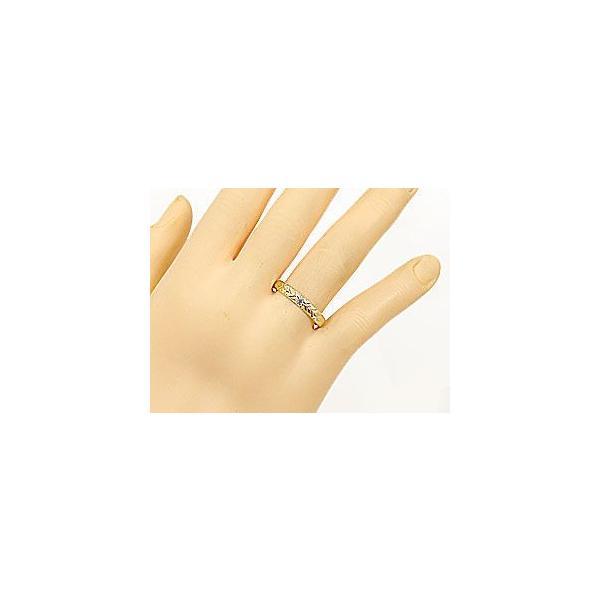 結婚指輪 ハワイアン ペアリング イエローゴールドk10 ブルーダイヤモンド ピンクサファイア k10 2本セット 10金 ダイヤ ストレート カップル 母の日