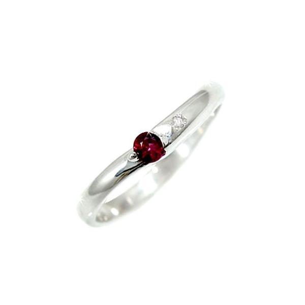 ピンキーリング ルビー ダイヤモンド シルバー925 指輪 SV925 ダイヤ ストレート クリスマス 女性