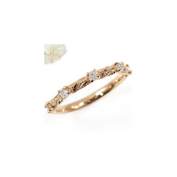 ピンキーリング ダイヤモンド リング エンゲージリング 婚約指輪 ピンクゴールドK18 18金 ダイヤモンドリング ダイヤ ストレート 秋 冬 クリスマス 女性