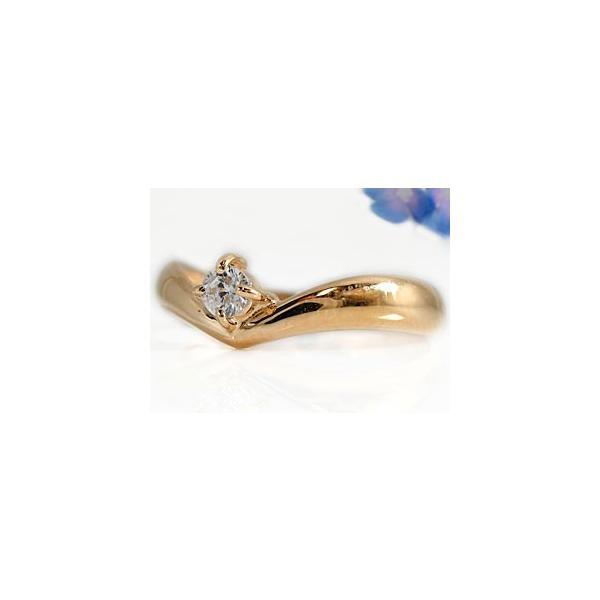 ピンキーリング ダイヤモンド リング 指輪 ピンクゴールドK18 一粒 K18 18金 ダイヤモンドリング ダイヤ ストレート クリスマス 女性